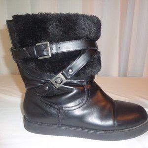 Boots 7.5 Wide Black Gold Sequin Faux Sued…